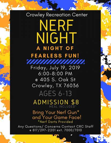 CRC Youth Event: Nerf Night @ Crowley Recreation Center