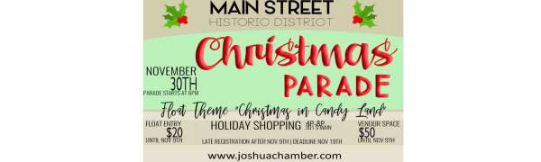 Joshua Christmas Parade and Holiday Shopping @ True Life Church Joshua