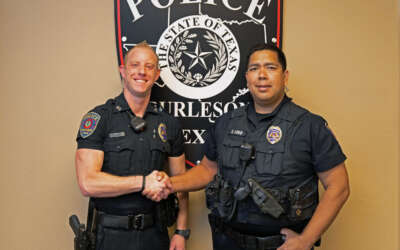Burleson Police Officers Joshua Lott and Harold Chou